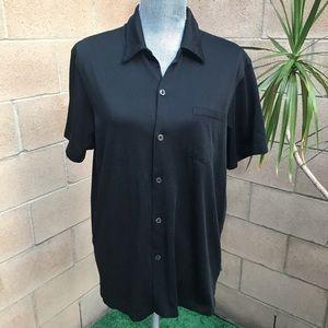 DKNY Short Sleeve Button Up Shirt Black Large